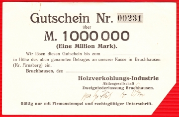 Notgeld Bruchhausen, 1 Million Mark
